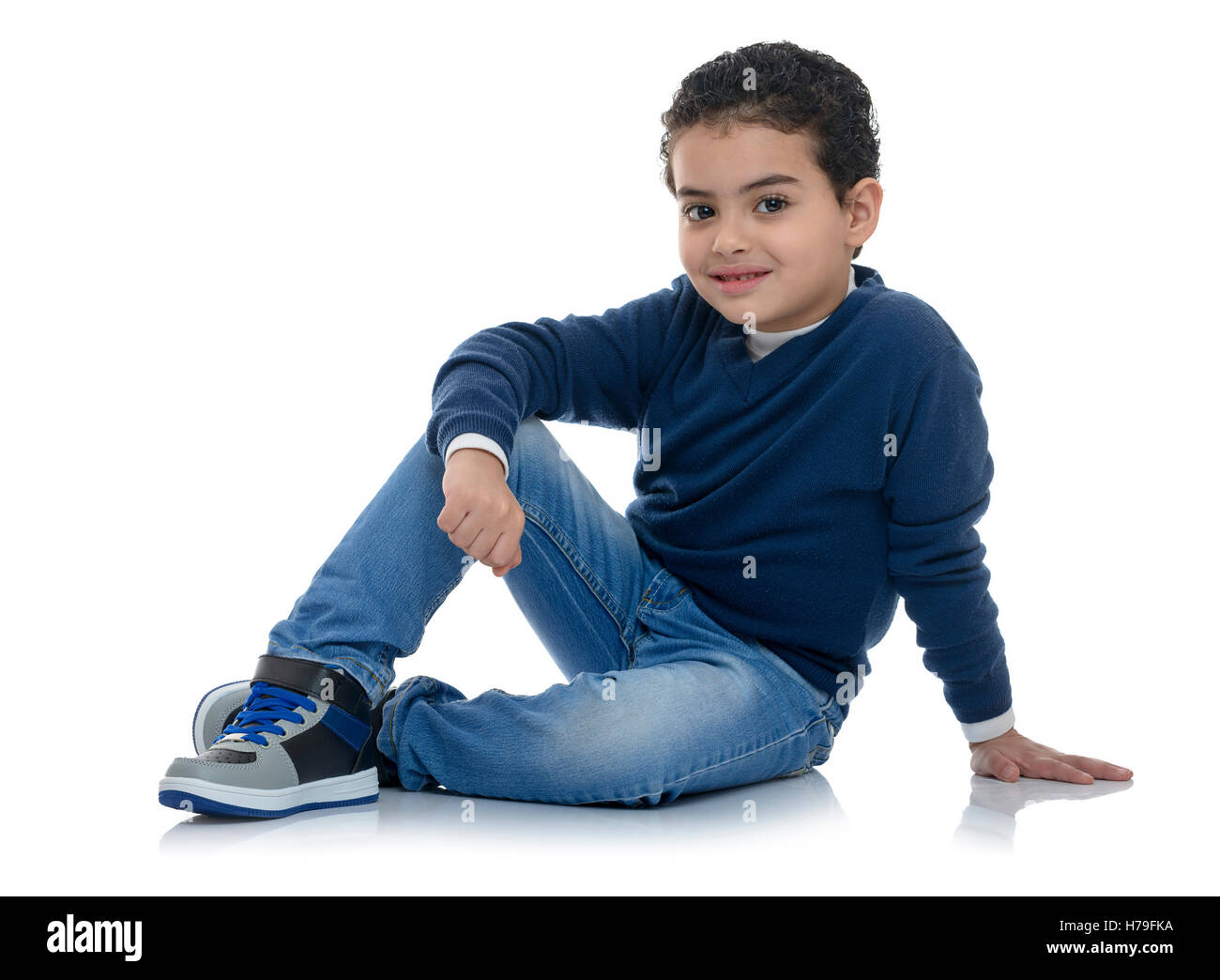 Cute Happy Fashion Boy Isolated on White Background - Stock Image