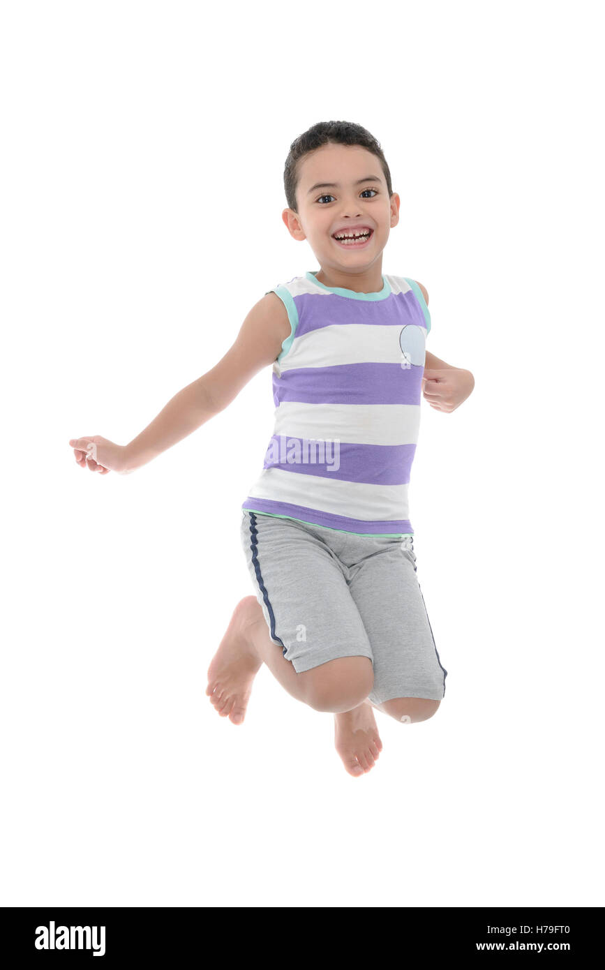 Joyful Active Boy Jumping With Joy Isolated on White Background - Stock Image