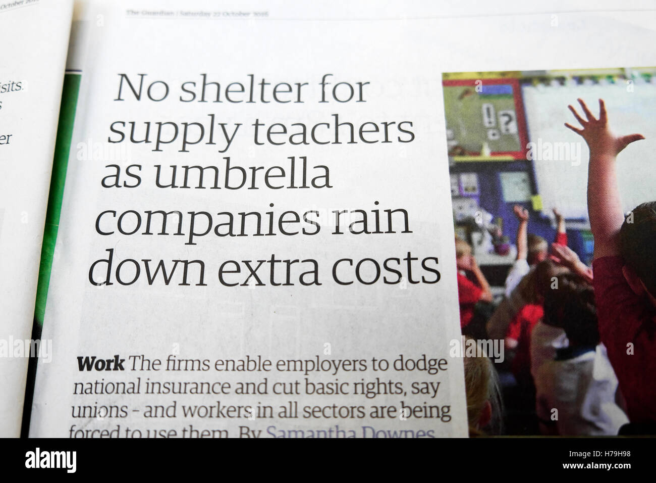 'No shelter for supply teachers as umbrella companies rain down extra costs'  newspaper headline UK - Stock Image