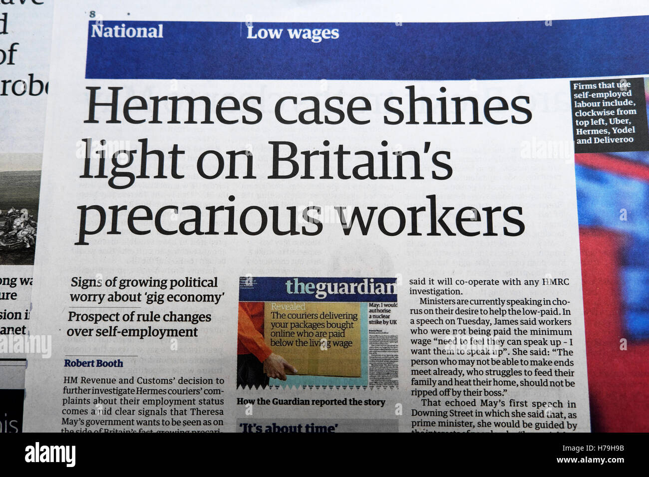 'Hermes case shines light on Britain's precarious workers' Guardian gig economy newspaper article re: - Stock Image
