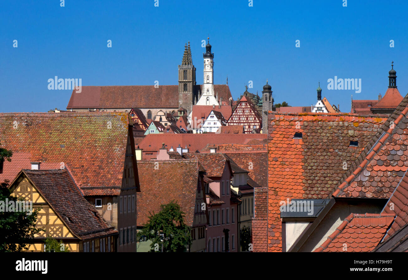 View over rooftops to centre of Rothenburg ob der Tauber,medieval town, Bavaria,Germany - Stock Image