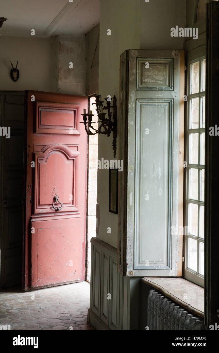 Open Door And Window Shutters In 18th Century Chateau De