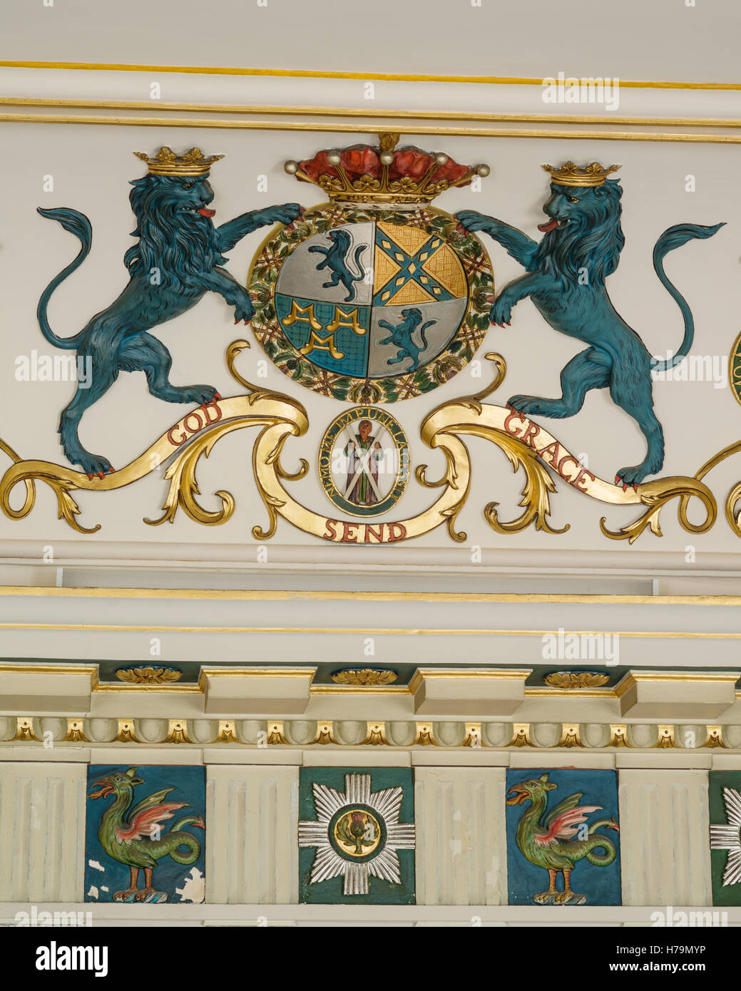 Blue lions on crest reading 'GOD SEND GRACE' IN palladian 18th century Dumfries house, Ayrshire, Scotland - Stock Image