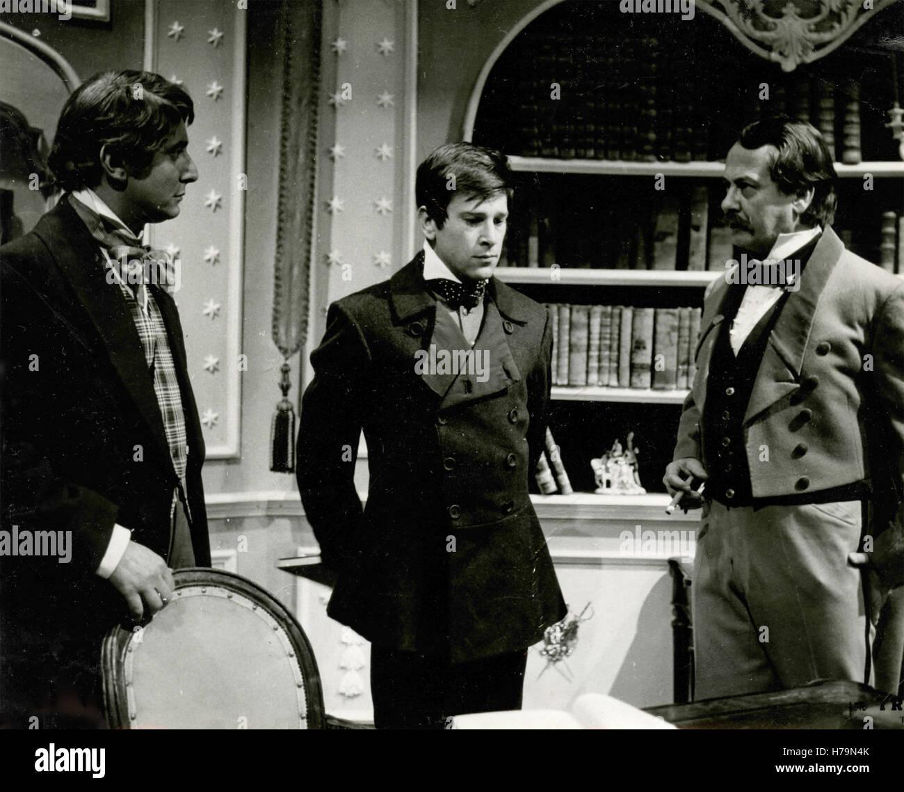 Italian actors Ettore Conti, Enzo Cerusico, and Roberto Villa in the movie Il Risveglio - Stock Image