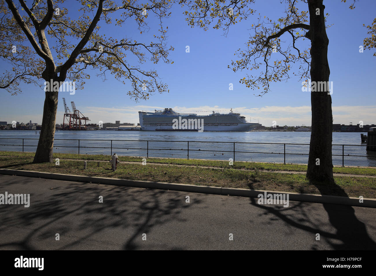 Cruise ship docked at the red hook ferry terminal, seen from