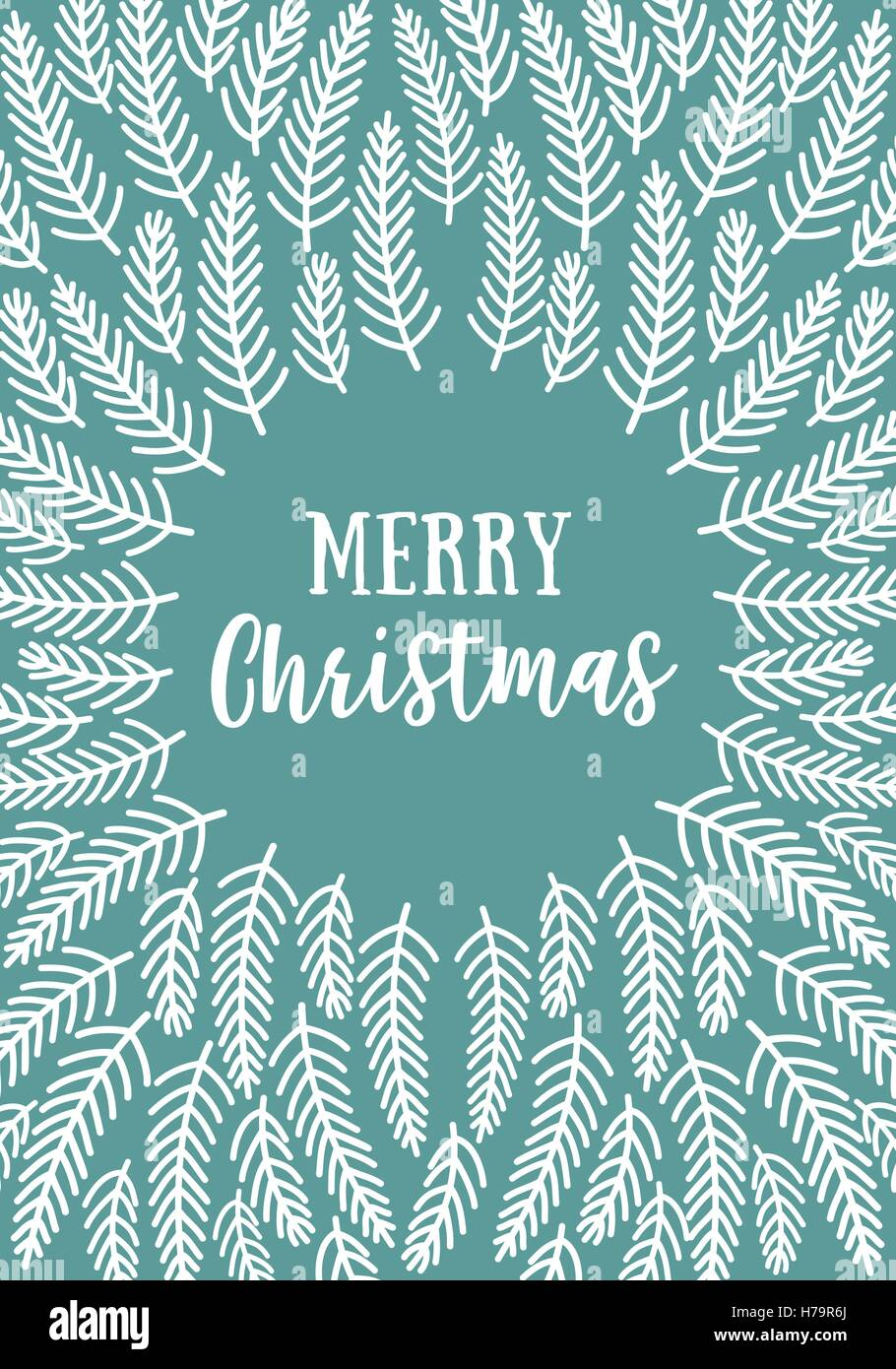 Simple modern Christmas card with hand drawn fir tree branches, vector illustration - Stock Image