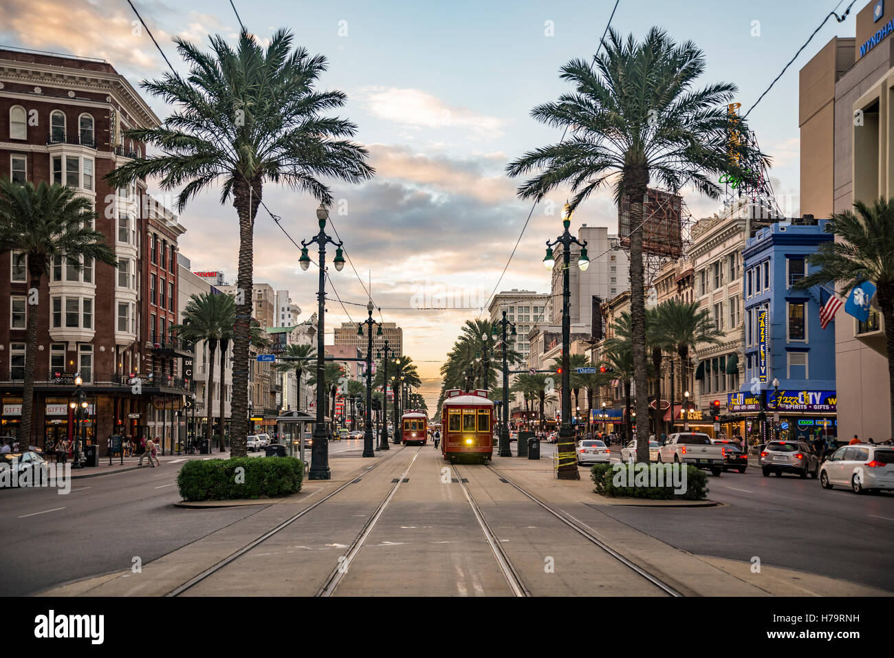 NEW ORLEANS - OCTOBER 10, 2016: view of the famous Canal Street on October 10, 2016 in New Orleans, LA - Stock Image