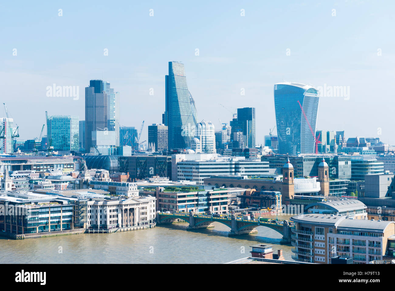 London City Southbank cityscape Walkie Talkie Leadenhall Street Willis Building Tower 42 Lloyds River Thames Southwark - Stock Image