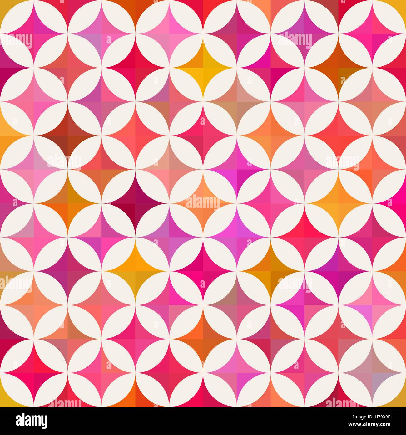 Vector Seamless Colorful Circle Star Quilt Tiling Pattern on Light ...
