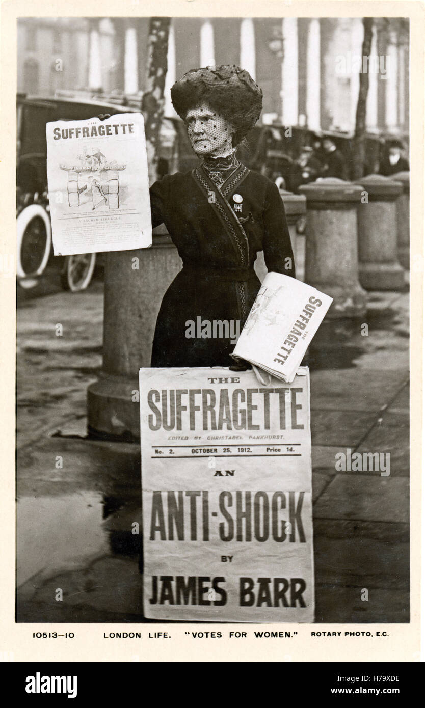 Suffragette Paper Seller, 1912 postcard of a street vendor of the newspaper edited by Christabel Pankhurst supporting - Stock Image