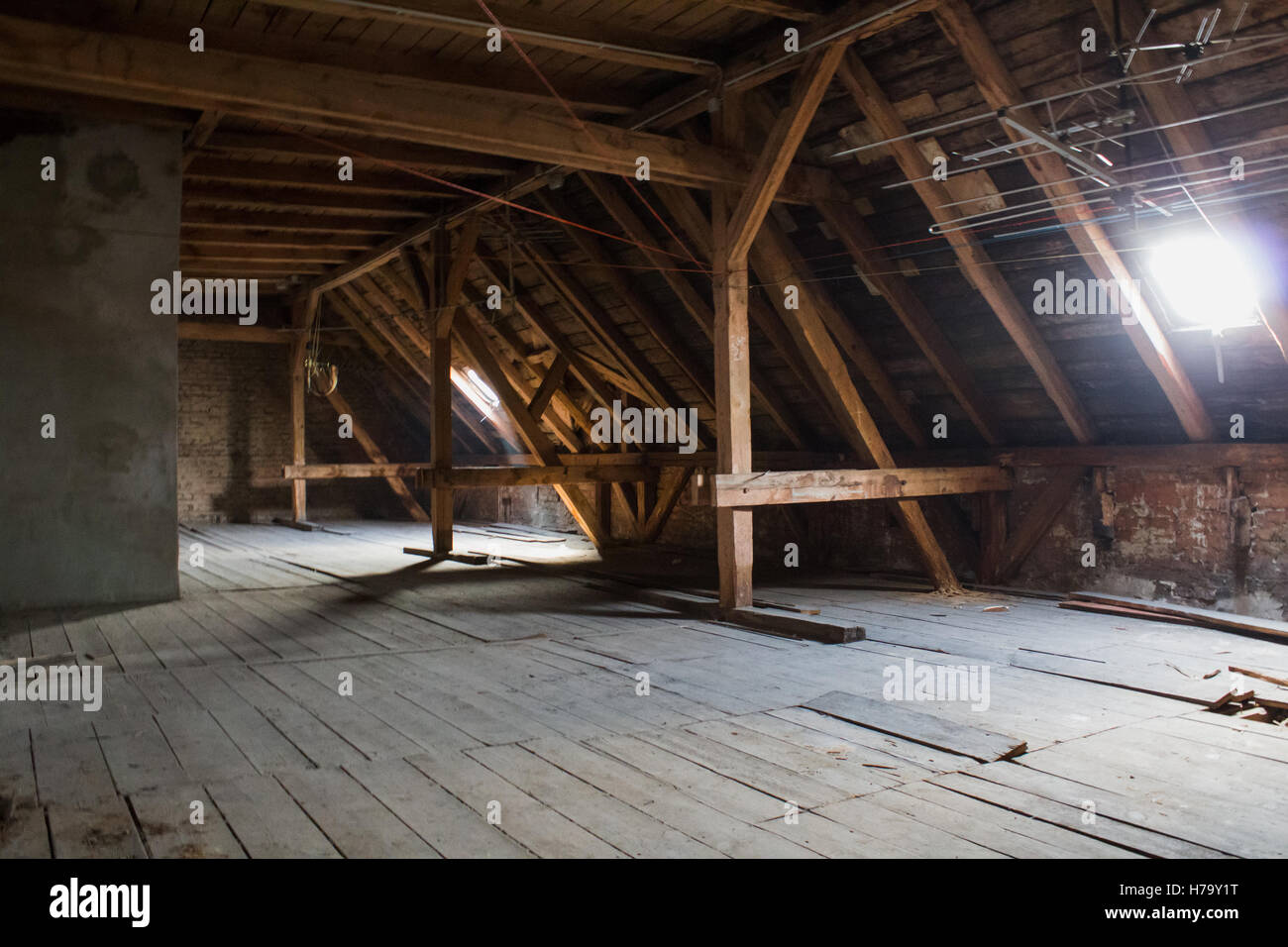 attic, wooden beams in old loft /  roof before construction - Stock Image