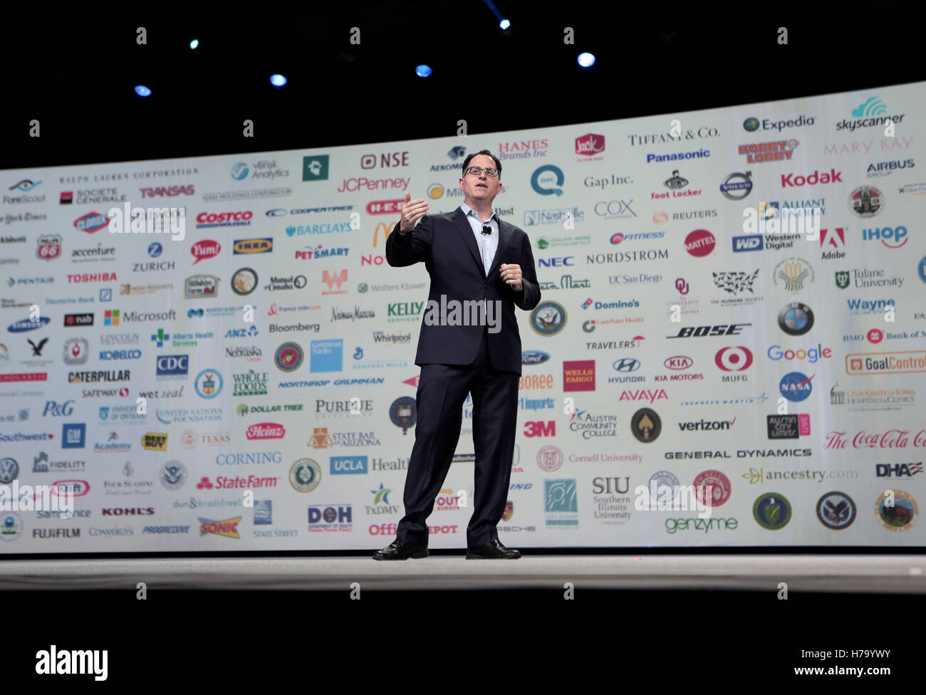 Michael Dell, founder and CEO of Dell Inc., speaks at the Dell World 2015 technology conference in Austin, Texas. Stock Photo