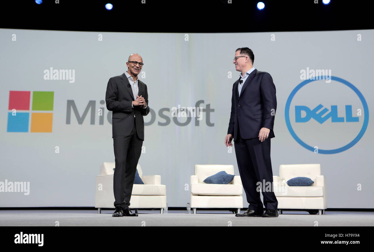 satya nadella ceo of microsoft left and michael dell dell inc