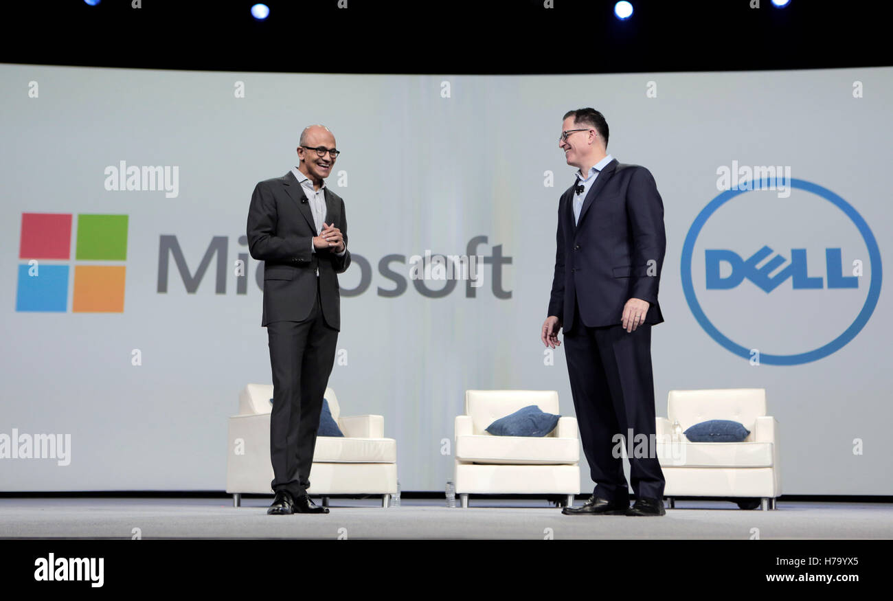 Satya Nadella, CEO of Microsoft, left, and Michael Dell, Dell Inc. founder and CEO of Dell at Dell World 2015 in Stock Photo
