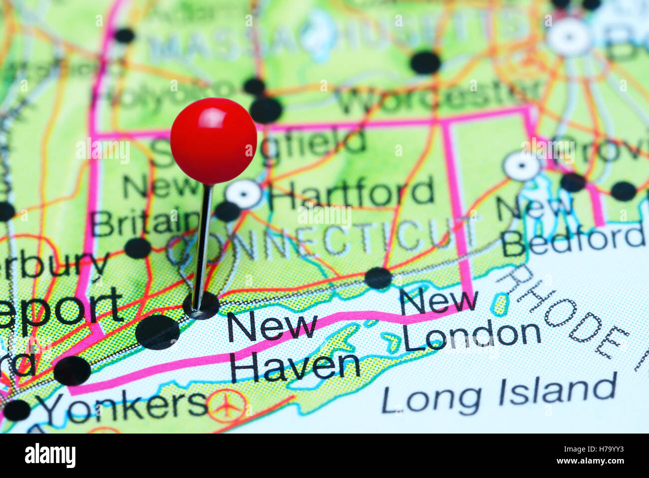New Haven pinned on a map of Connecticut, USA Stock Photo: 124994663 ...