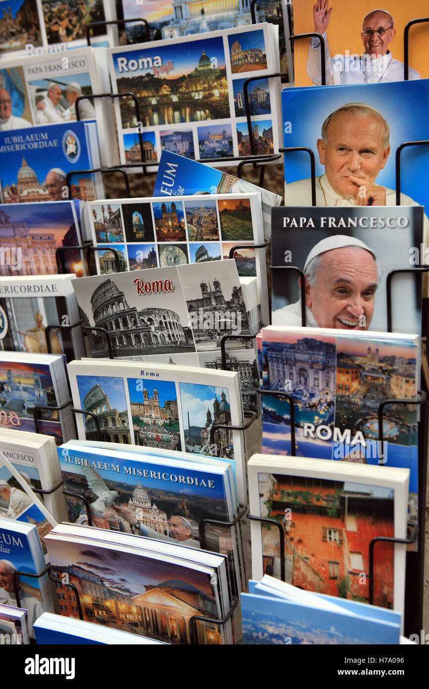 Postcards for sale in the Vatican City, Rome - Stock Image