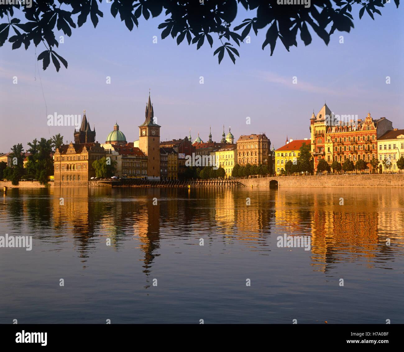 Stare Mesto reflecting in the River Vltava, Prague, Czech Republic - Stock Image
