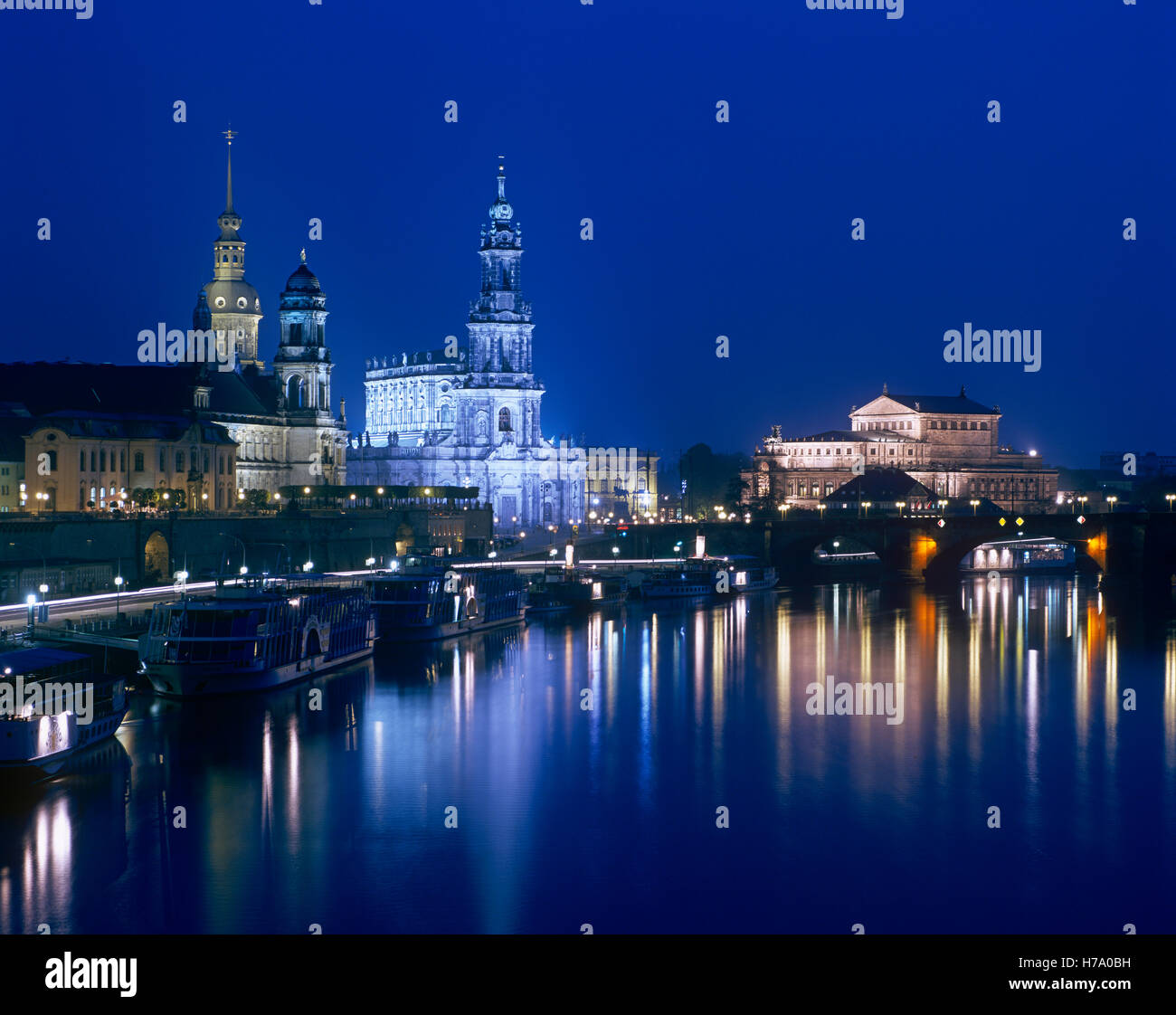 Dresden skyline reflecting in the River Elbe at night, Saxony, Germany - Stock Image