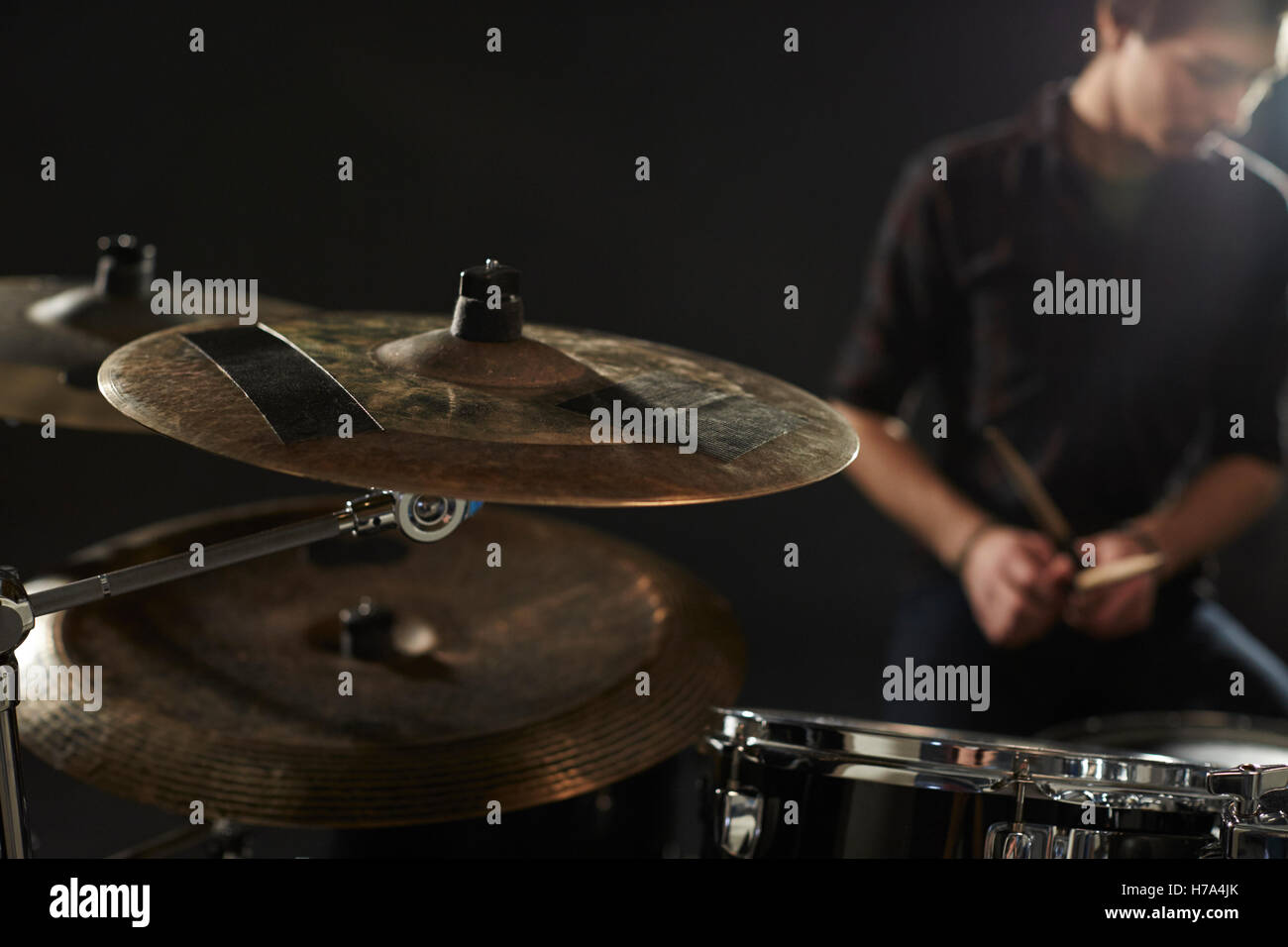 Hi Hat Cymbals Stock Photos Images Alamy And White Diagram Of A Drum Set Including High Snare Close Up On Drummers Kit Image
