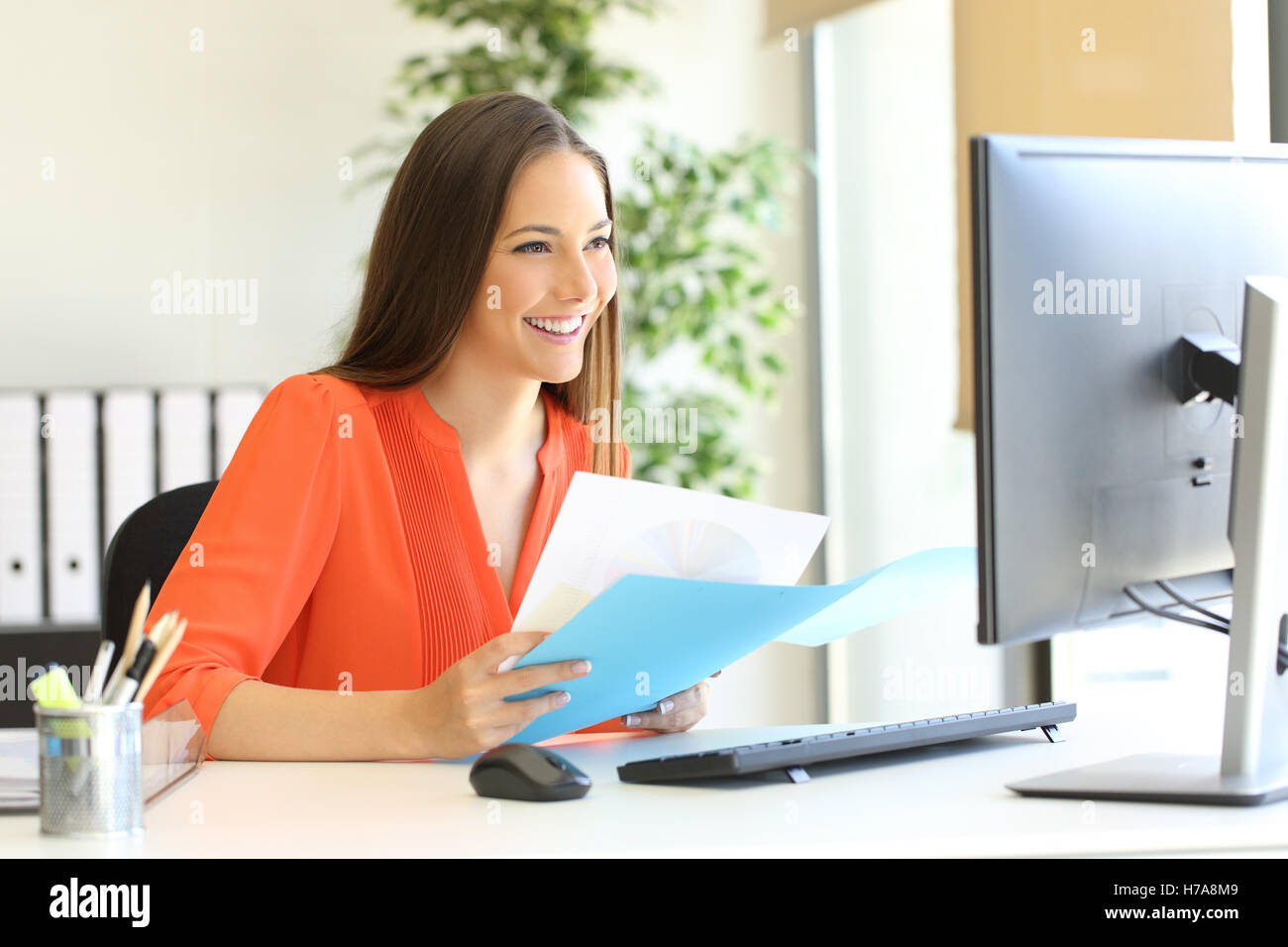 Entrepreneur or executive working comparing documents with a computer sitting in a desk at office - Stock Image
