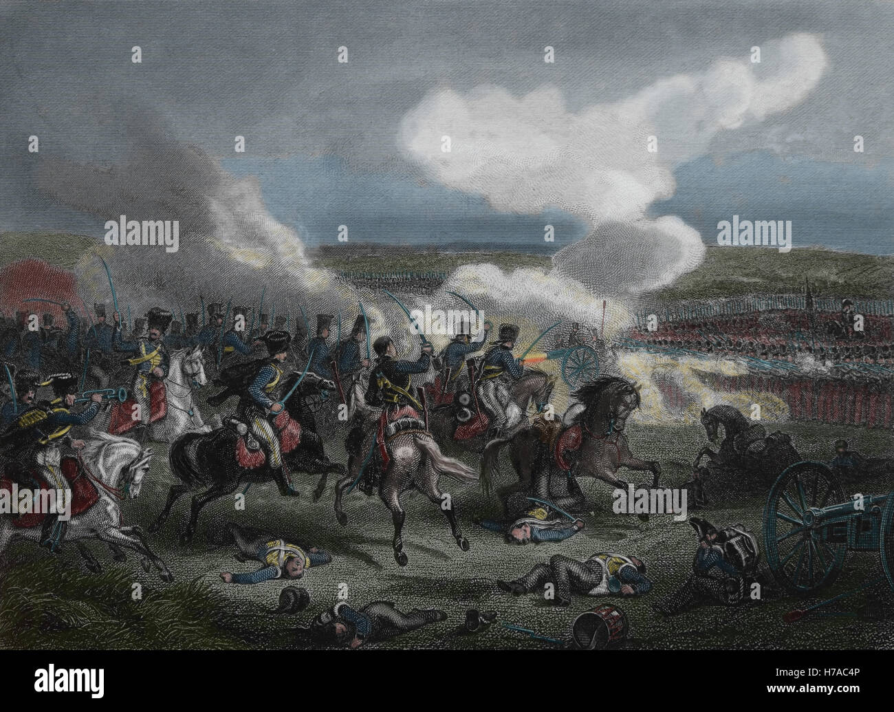 Battle of Fuentes de Onoro (3-5 May 1811). British-Portugal Army and French Empire. Peninsular War. Spain. Engraving. - Stock Image