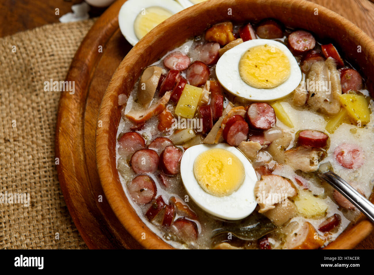 Traditional Polish Easter Soup Zurek Stock Photo