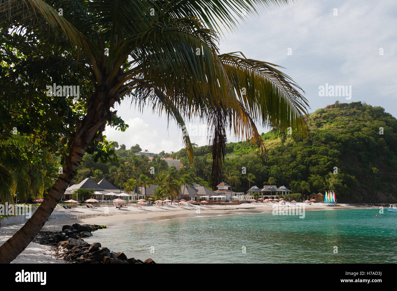 Secluded beach resort on Caribbean island of St Lucia - Stock Image