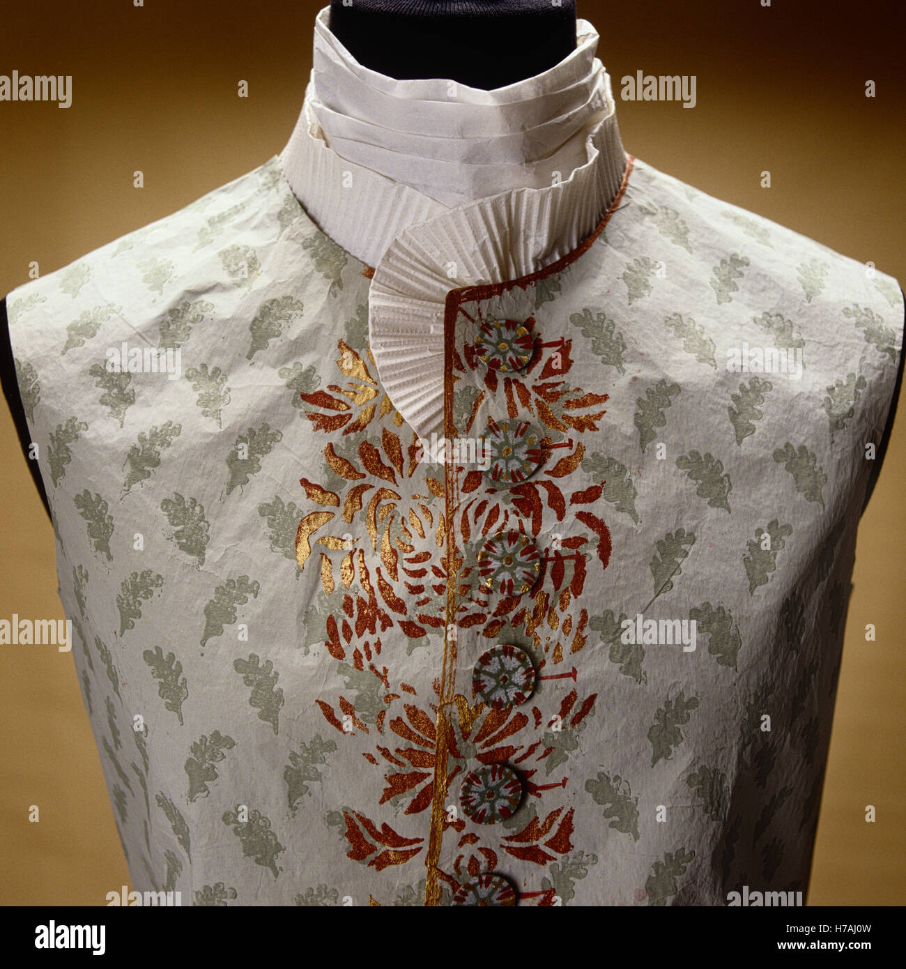 Waistcoat with foliate motif and collar detail, historical replica made of paper by Isabelle de Borchgrave - Stock Image