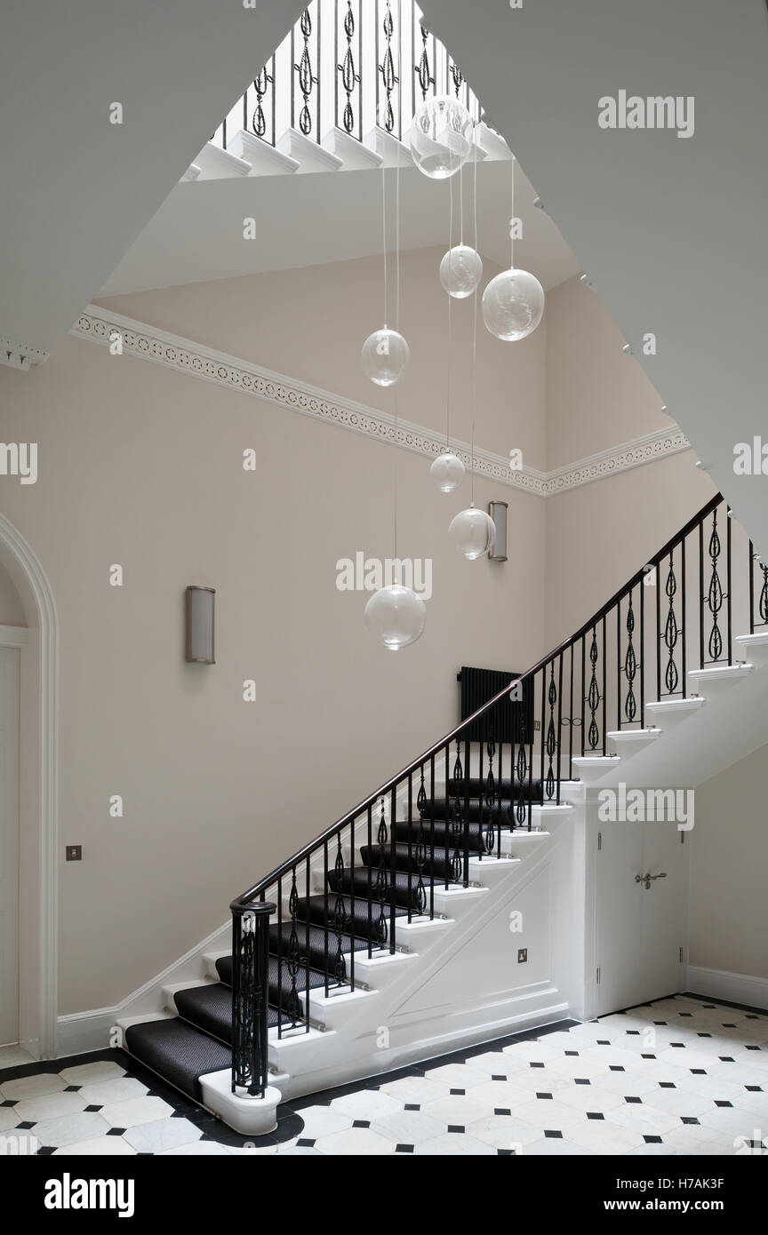 Glass Pendant Shades Suspended Above Staircase In Gloucester Place  Interior, London, England, UK