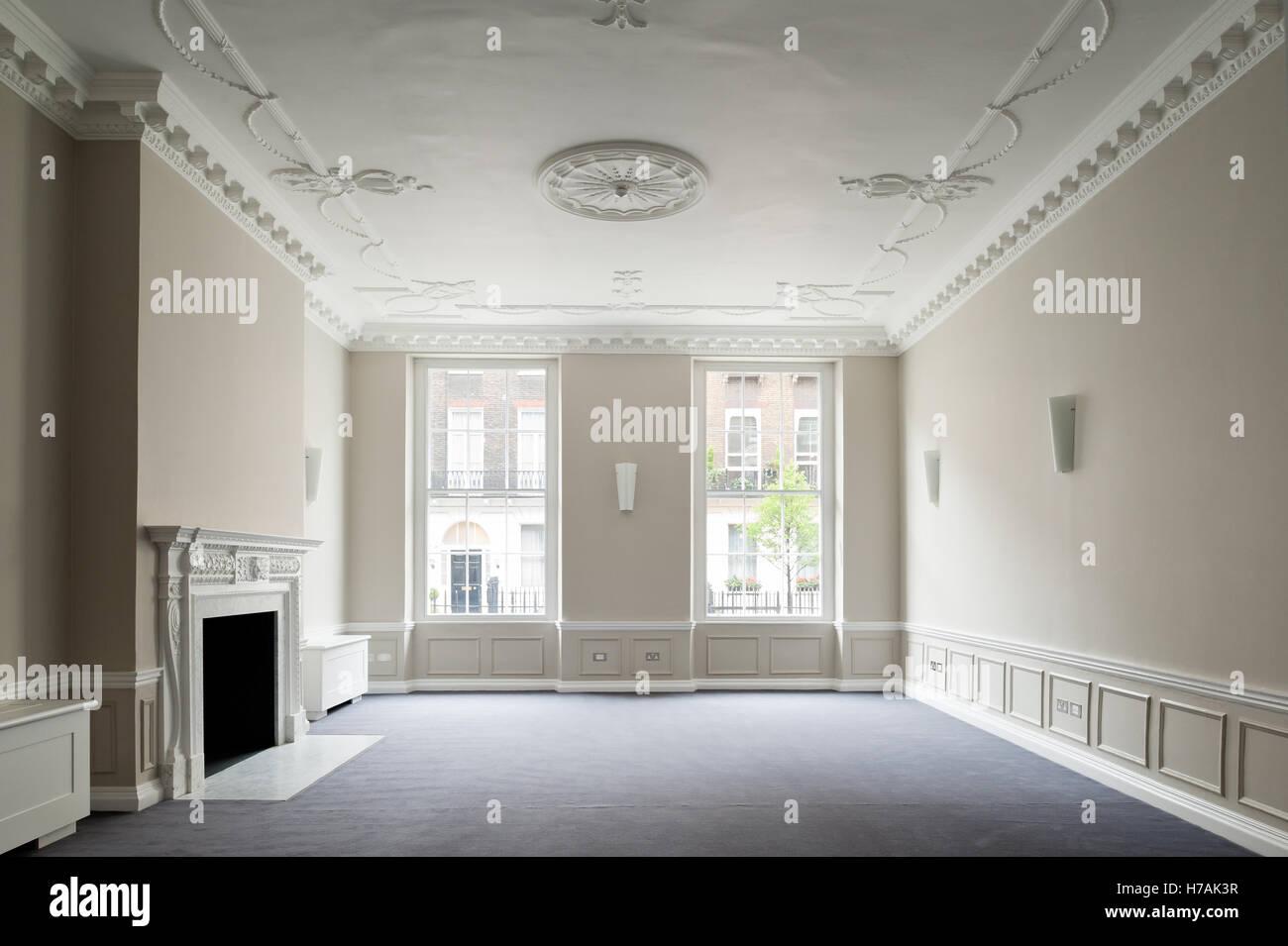 Plasterwork ceiling detail in Gloucester Place interior, London, England, UK - Stock Image