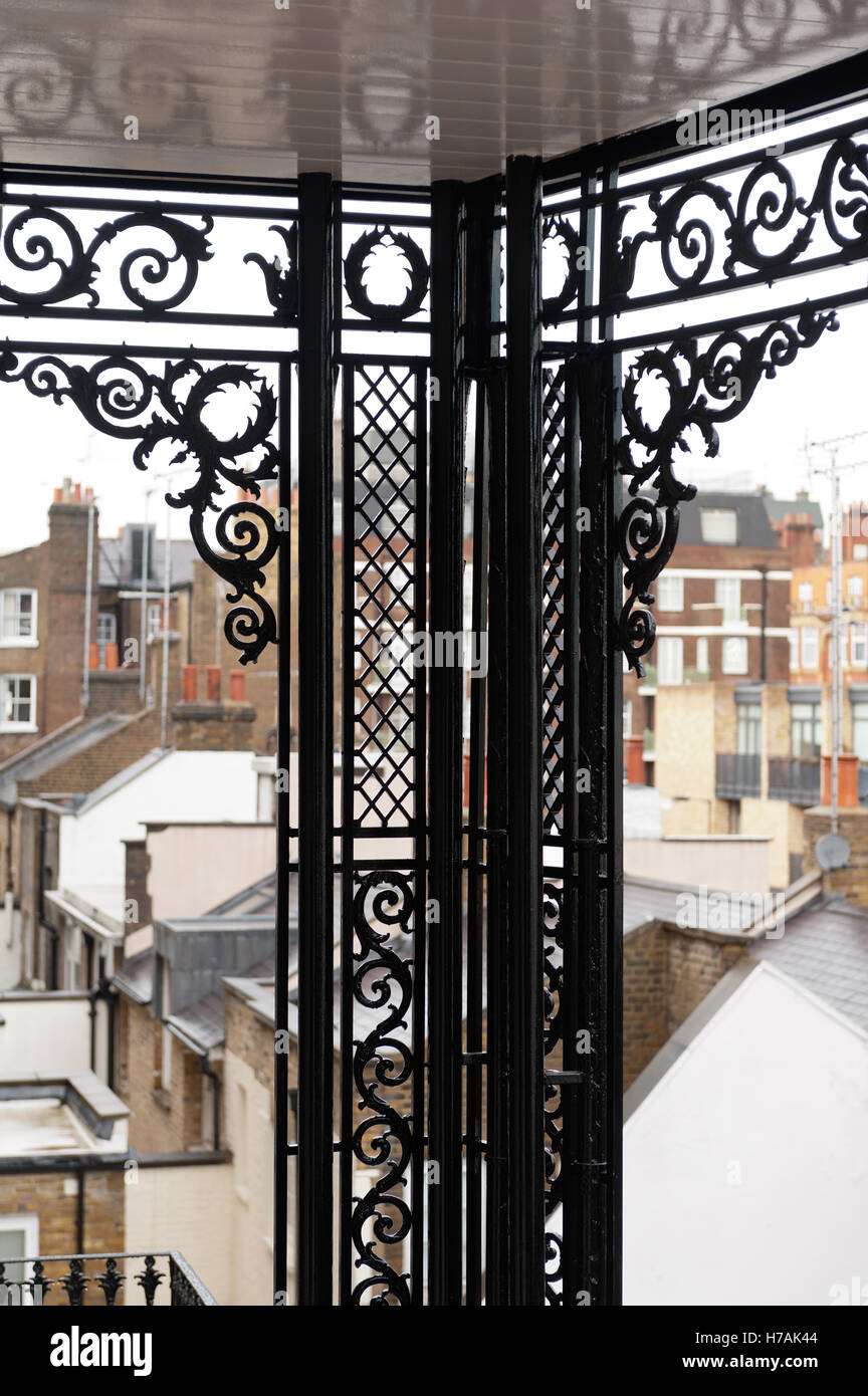 Wrought iron balcony detail on exterior of Gloucester Place building, London, England, UK - Stock Image