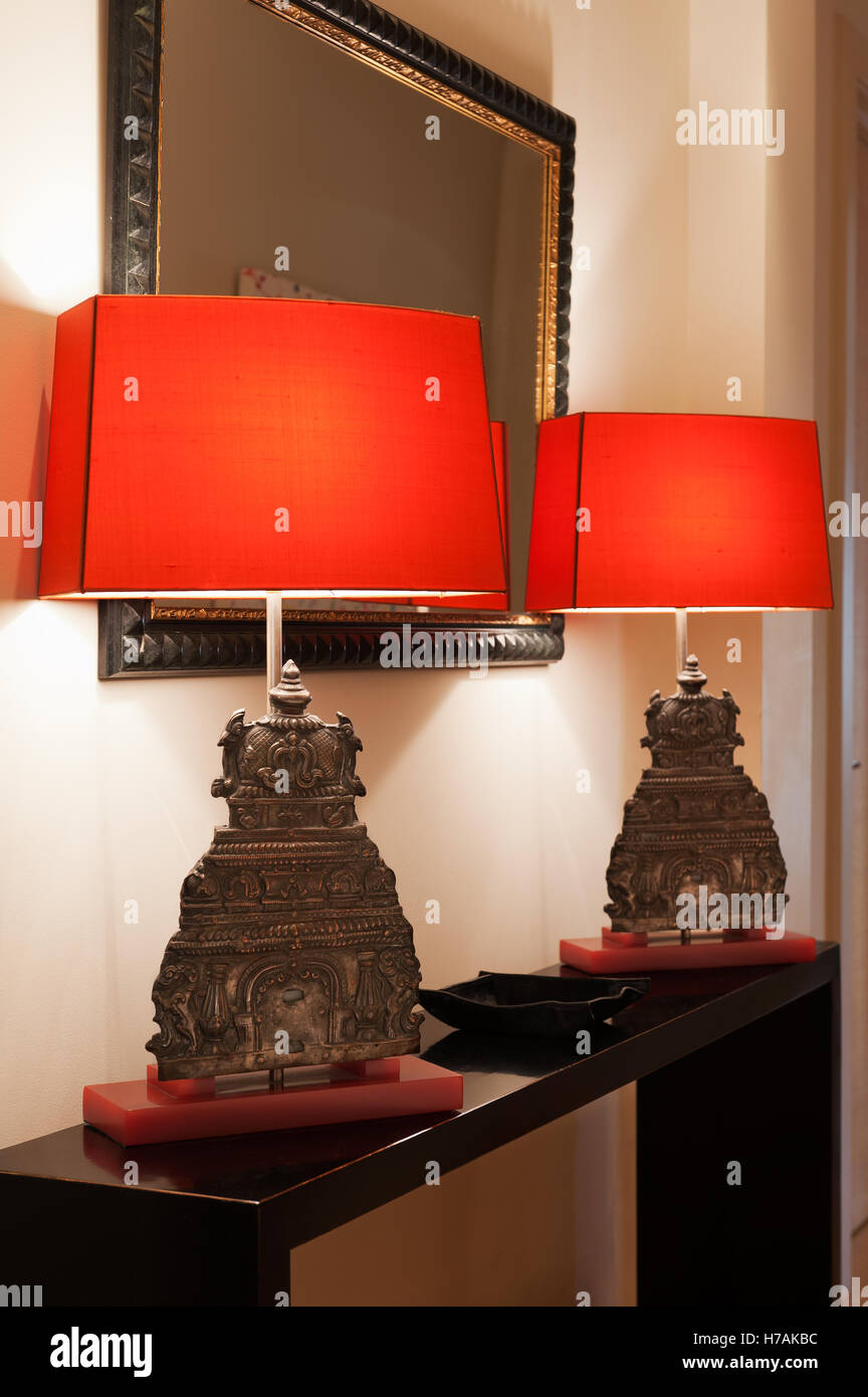 Lamps made from oriental artefacts, London, UK - Stock Image