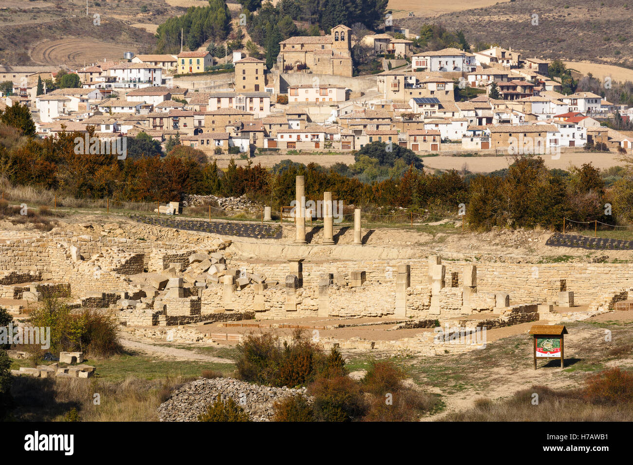 Santa Criz roman city ruins and Eslava village. Navarre province. Spain Stock Photo