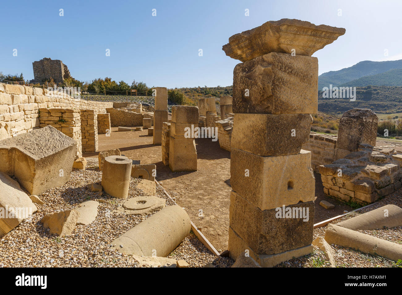 Ruins of Santa Criz Roman city. Eslava village. Navarra province. Spain. Europe Stock Photo
