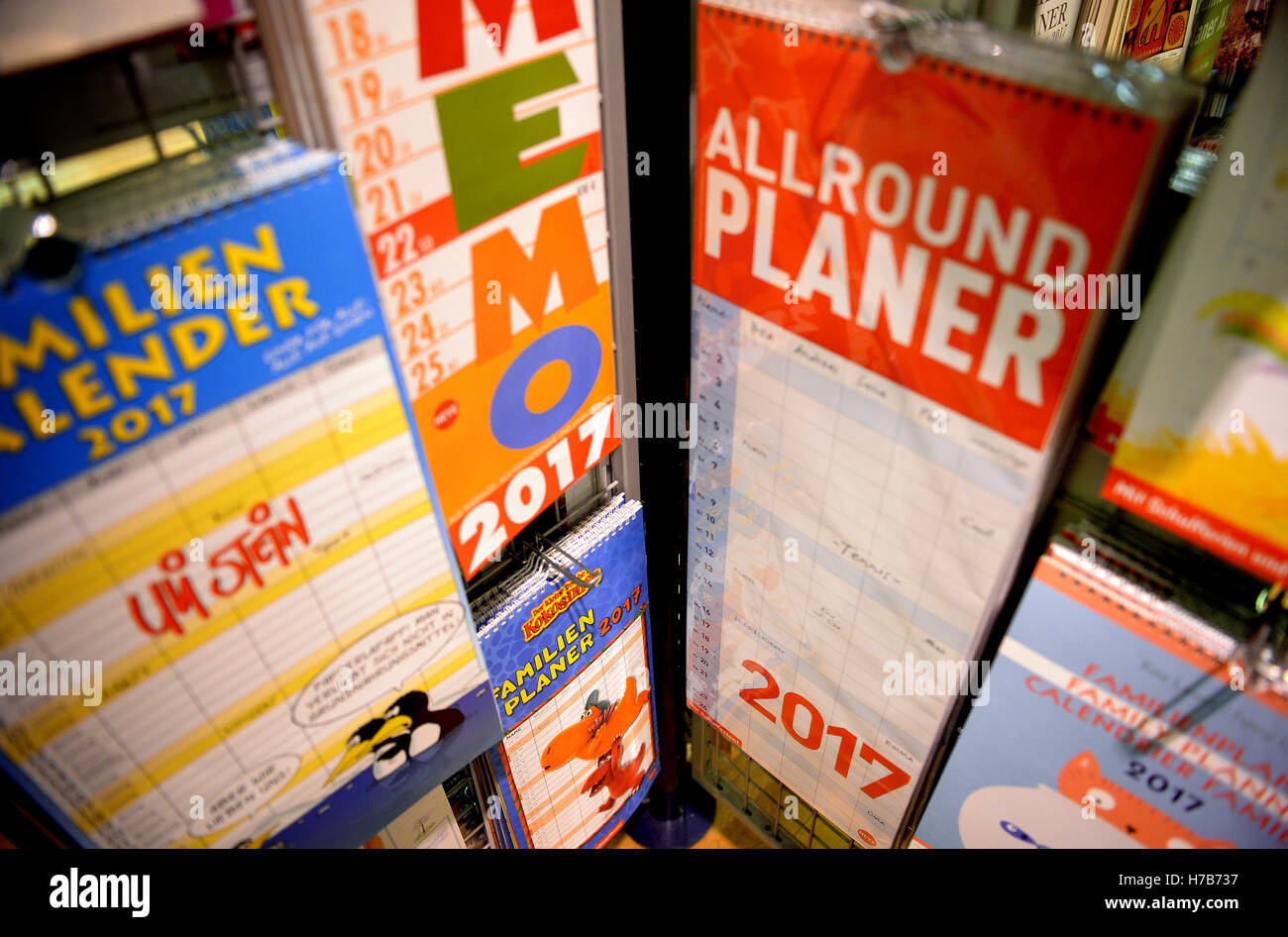yearly and family planners to write on hang in a bookstore in stock