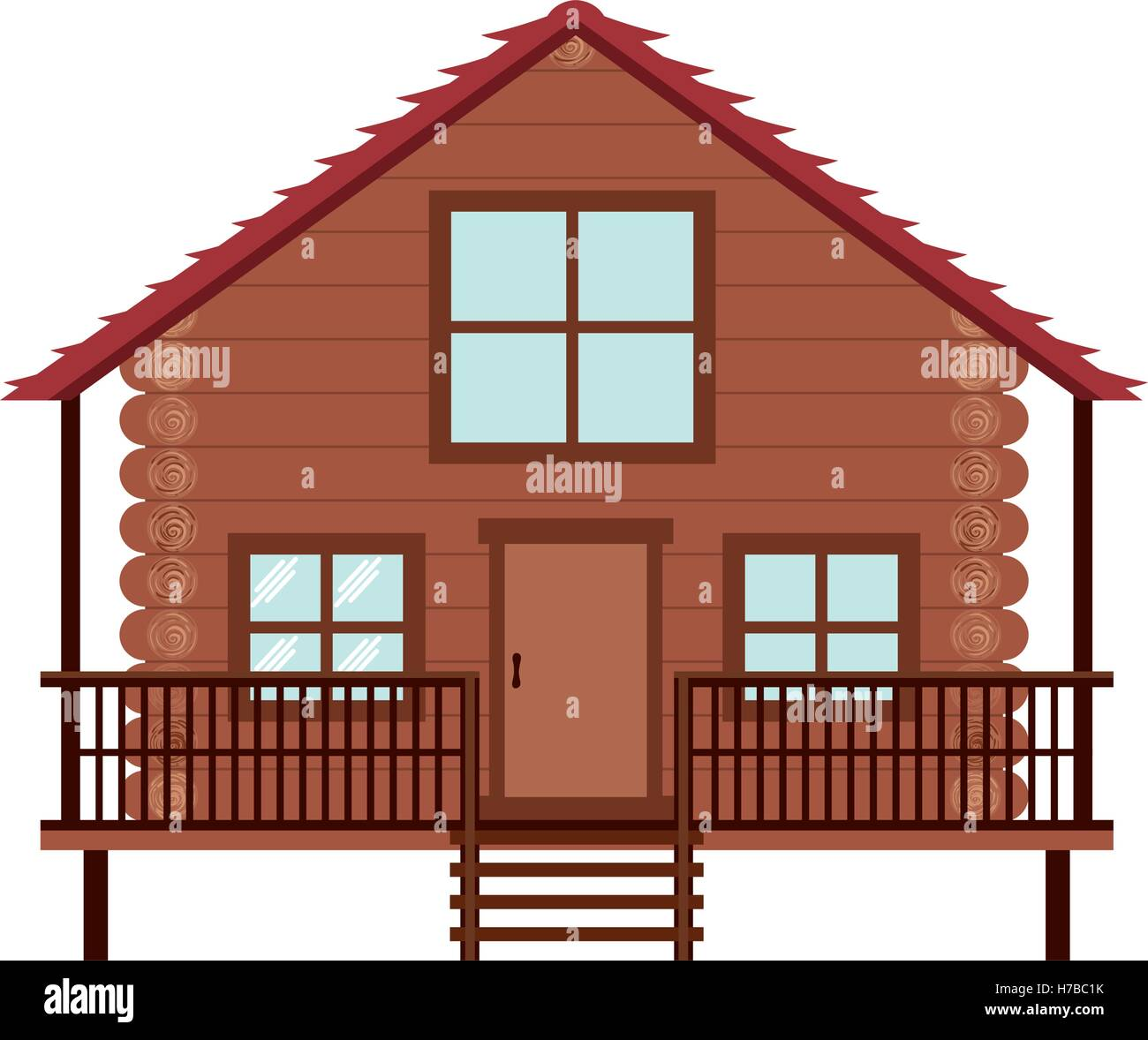 log cabin icon over white background. wooden house. vector illustration - Stock Vector