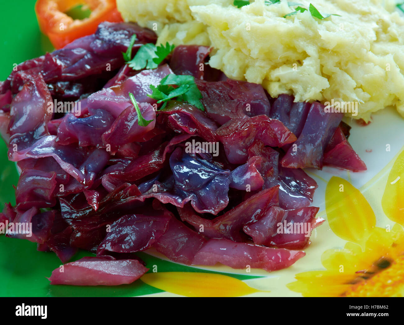 Traditional German Rotkohl- Sweet, Sour Red Cabbage - Stock Image