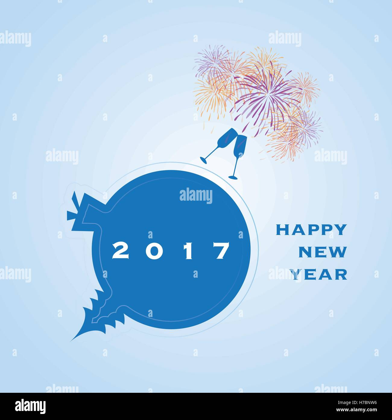 Best Wishes Colorful Abstract Modern Style Happy New Year Greeting
