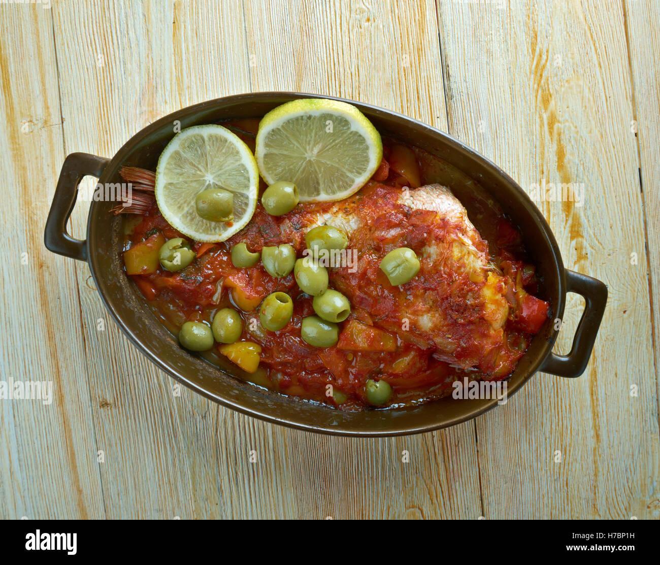Huachinango a la Veracruzana - Veracruz-Style Red Snapper  classic fish dish from Veracruz, Mexico. - Stock Image