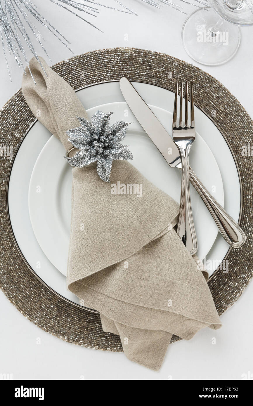 Festive fancy formal fine dining Christmas or New Year\'s Eve holiday ...