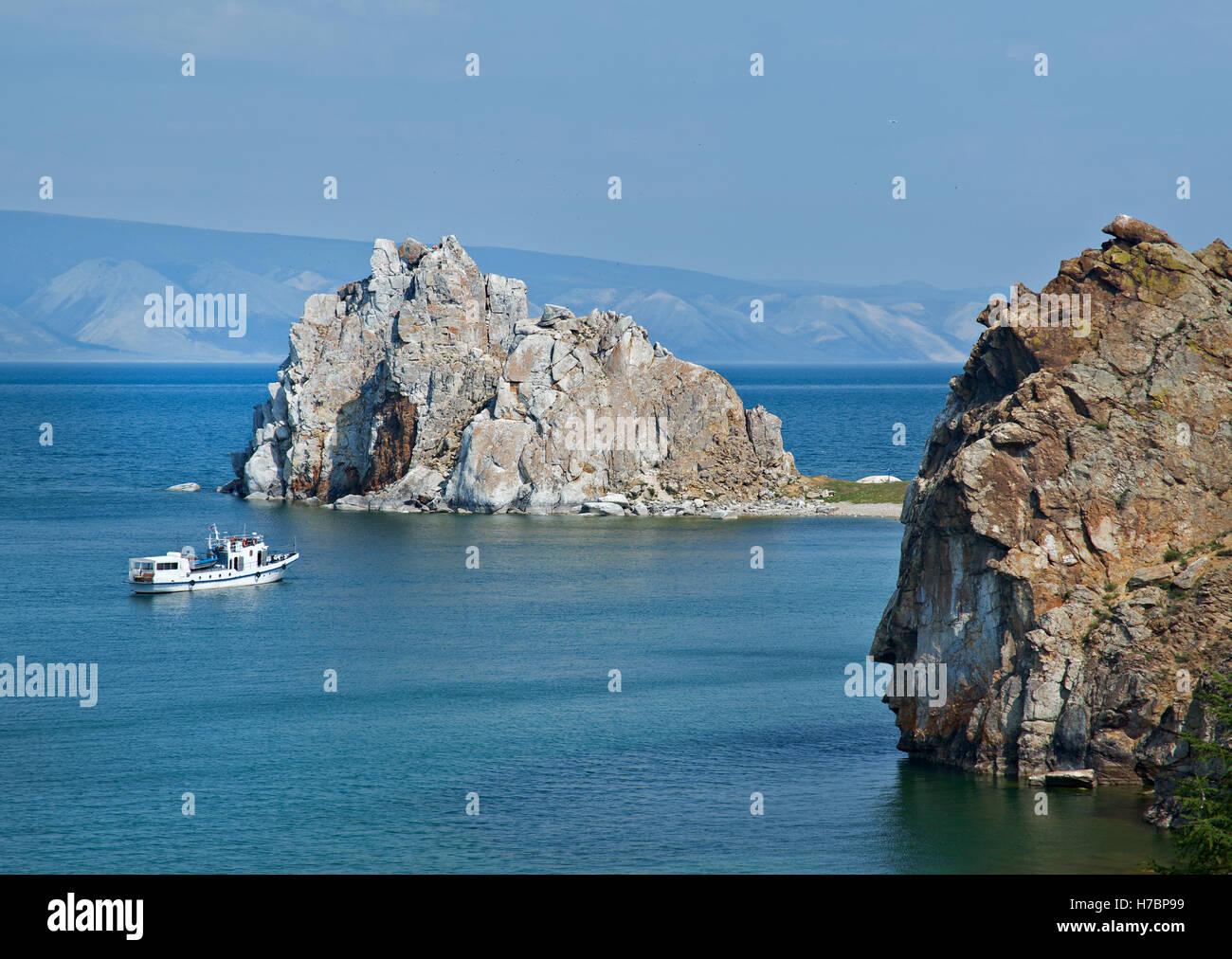 Rock Shamanka at headland Burhan  .Olkhon island, lake Baikal, Siberia, Russia - Stock Image