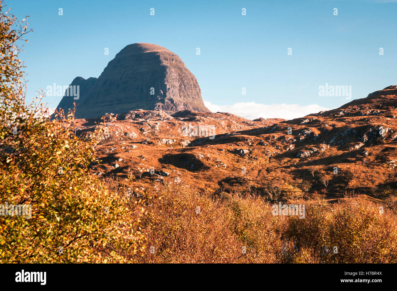 A landscape image looking across to Suilven, a mountain in Assynt, in the Scottish highlands. Stock Photo