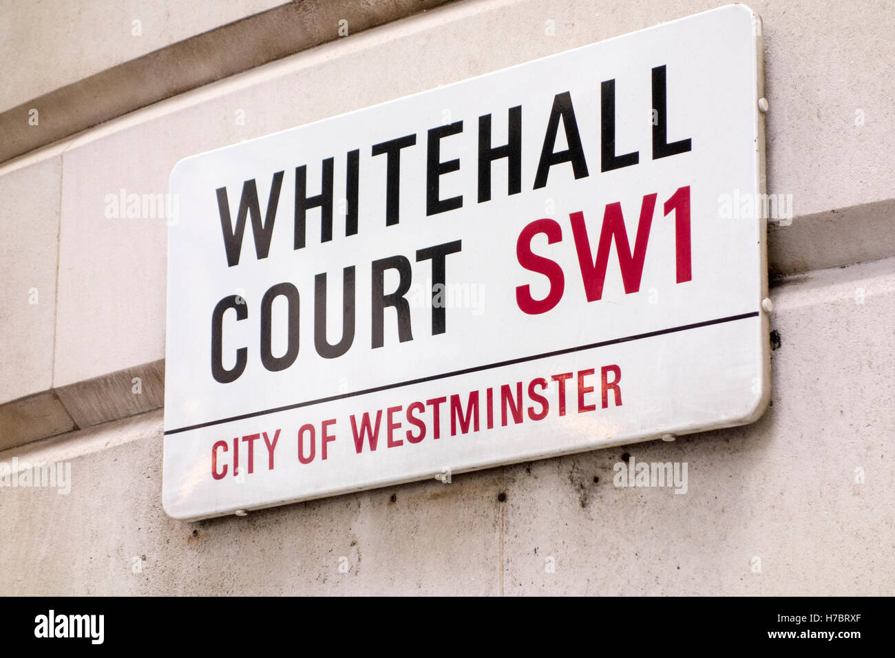 Whitehall Court road name sign, City of Westminster, London, UK - Stock Image