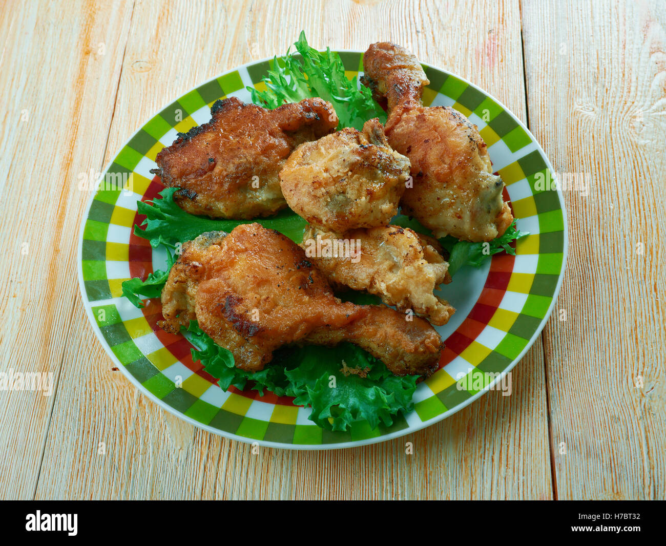 Southern Fried Chicken.a British-based fast food chain.Cuisine of the Southern United States - Stock Image