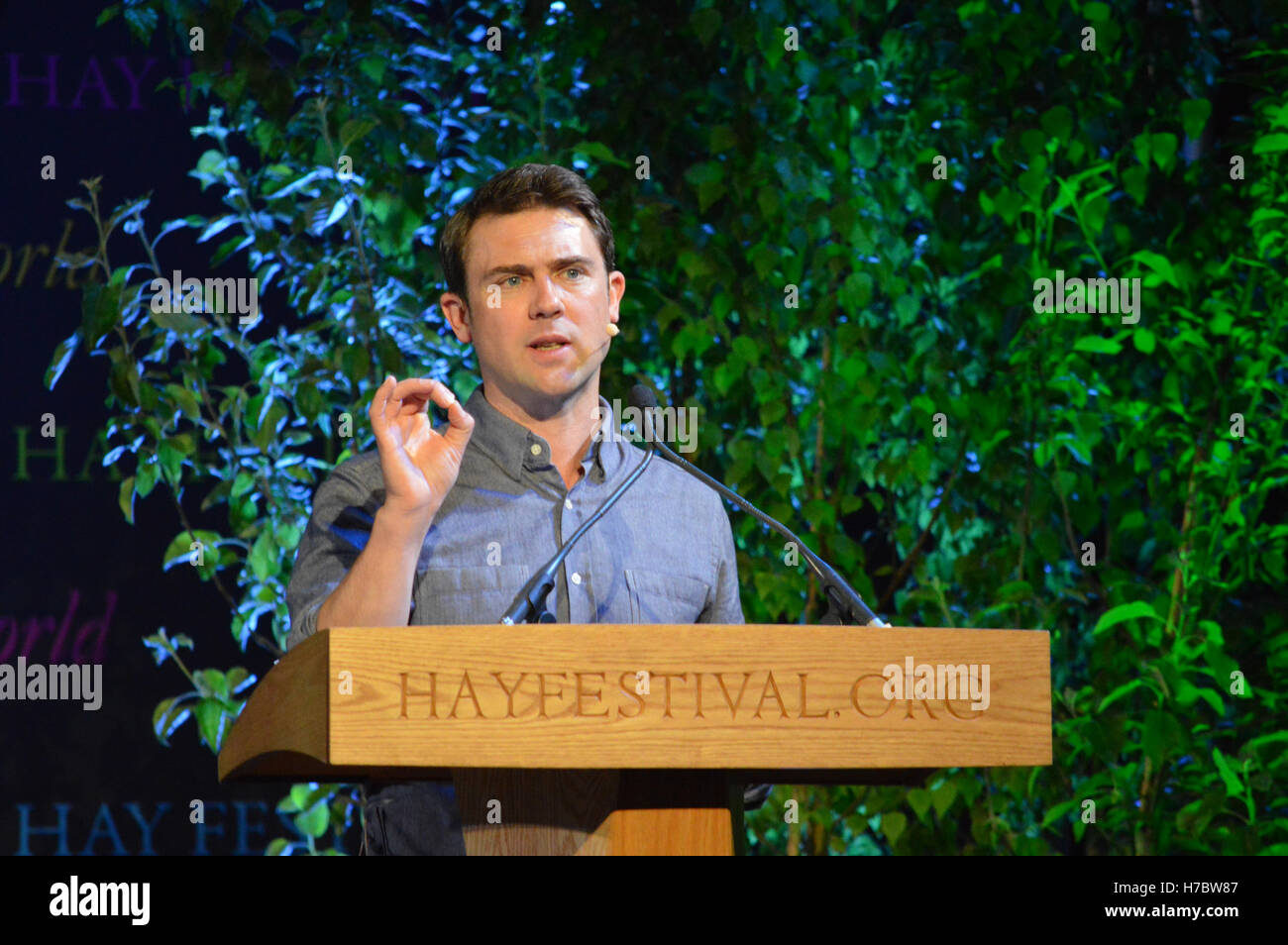 Owen Sheers at the Hay Festival 2014 - Stock Image