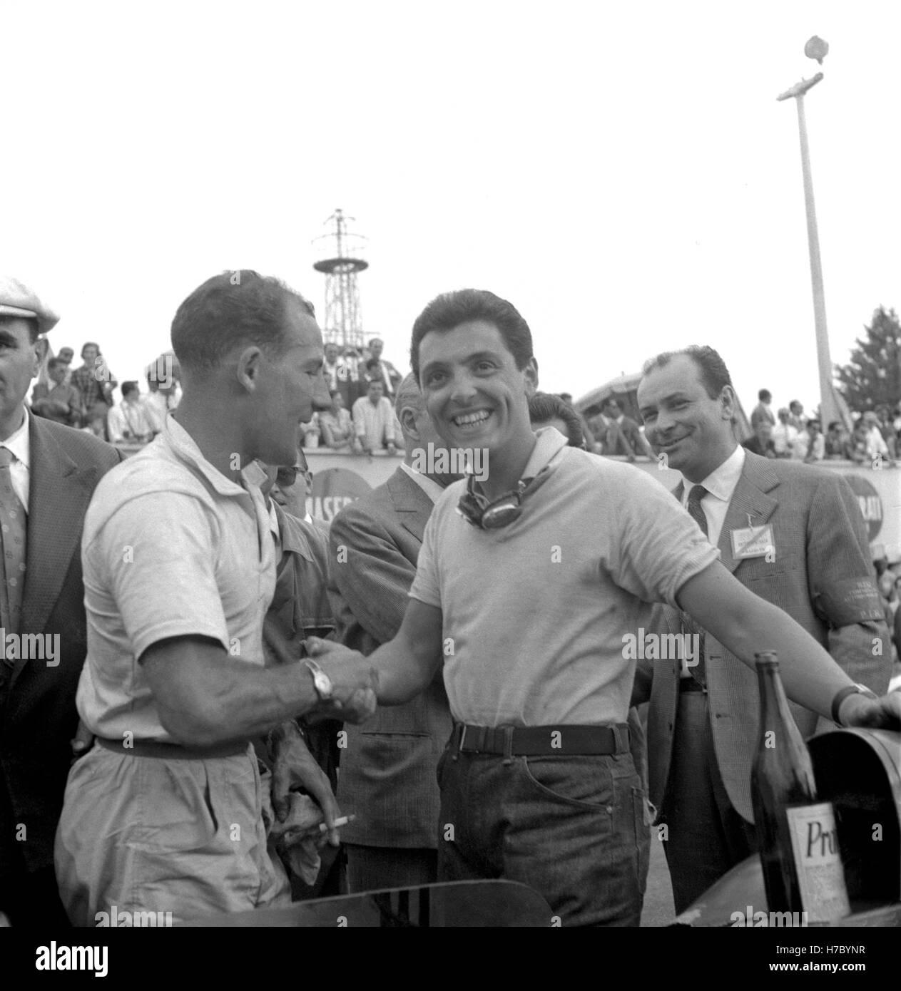 1958 Cesare Perdisa Italian Stirling Moss British motor racing driver - Stock Image