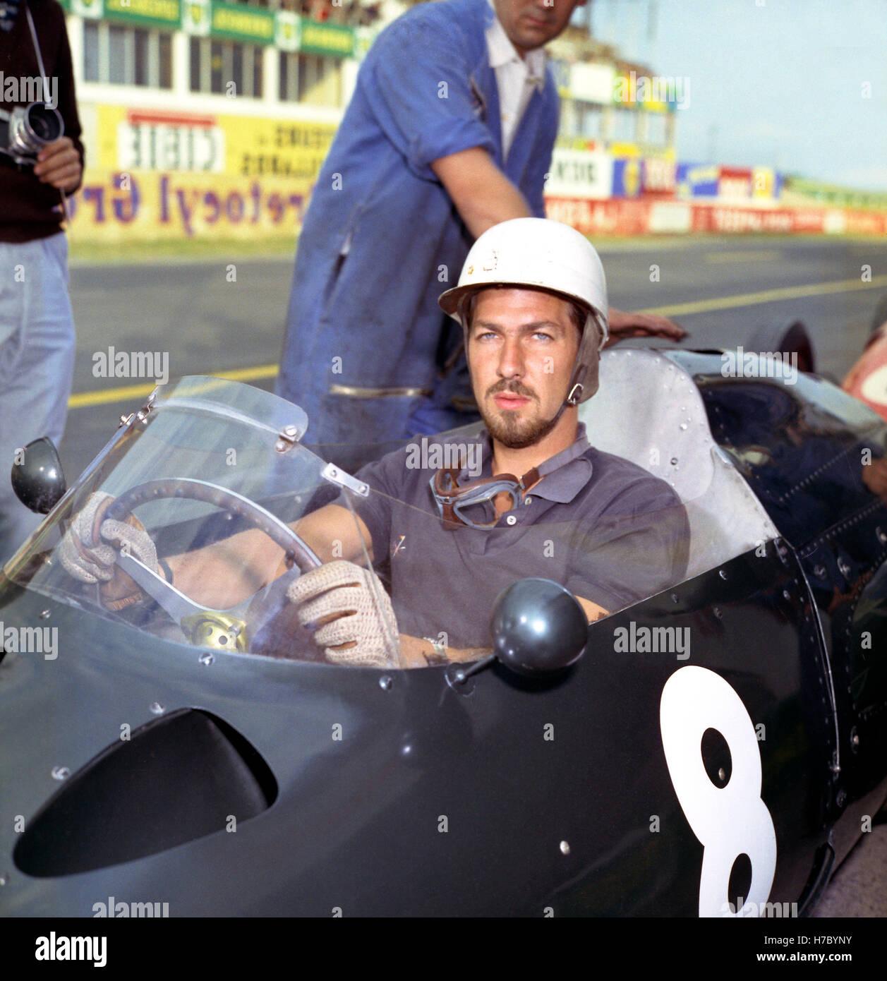 1960 Jo Bonnier Swedish motor racing driver Reims France - Stock Image