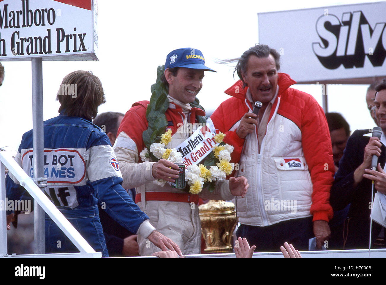 1981 John Watson wins British GP Podium - Stock Image
