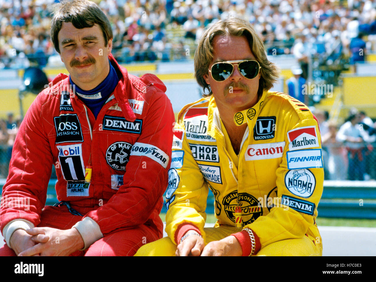 Keke Rosberg Nigel Mansell Stock Photo