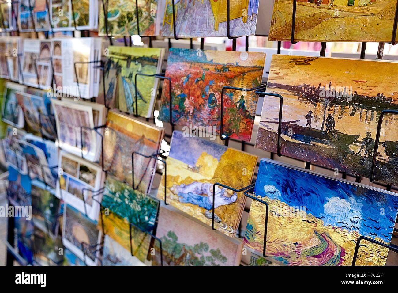 Postcards of Van Gogh paintings in a shop - Stock Image